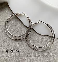 Серьги кольца крупные 4,2см серебристые, позолота родий, медицинское золото xuping
