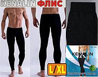 Мужские штаны-кальсоны подштанники флис-байка KENALIN чёрные L/XL МТ-1432