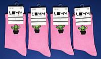 Шкарпетки з приколами демісезонні LOMM 0114 Кактус рожеві Україна розмір НМД-0510770