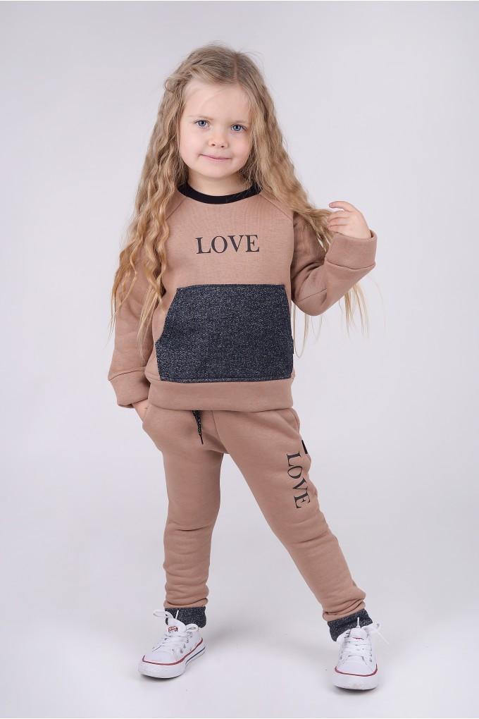 Стильный теплый спортивный костюм ФЛИС для девочки р. 116