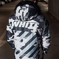 Мужская зимняя серая парка куртка Off White, Чоловіча сіра парка Off-White зимова