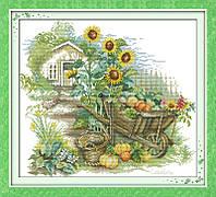 Тележка в саду Набор для вышивки крестом 14СТ