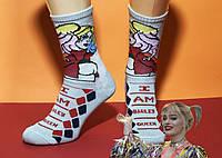 Демісезонні шкарпетки LOMM Premium Харлі Квін бежеві 0127 розмір 37-39 НМД-0510840