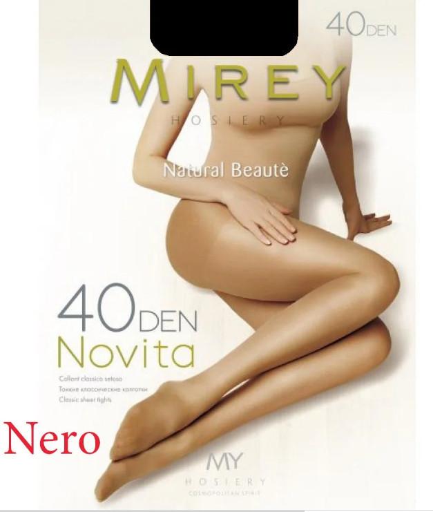 Капроновые классические колготы с короткими шортиками, уплотненный носочек Mirey Novita 40ден №2 (nero