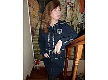 Кардиган женский с капюшоном на молнии, Украина, р116, трехнитка, черный, 20029906