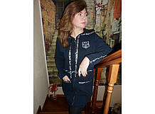 Кардиган женский с капюшоном на молнии, Украина, р92, трехнитка, черный, 20029920