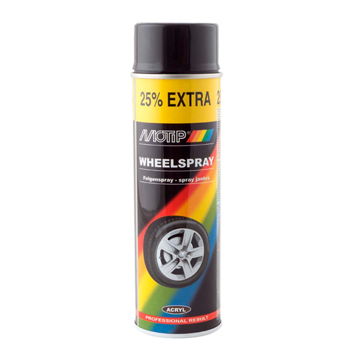 Краска аэрозольная для дисков Motip Wheelspray Черный глянцевый 500 мл (04018IG)