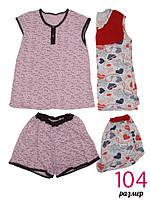 Пижама женская футболка+шорты размер 104 хлопок Украина ТОЖ-360133, фото 1