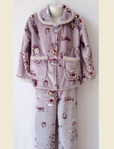 Детская серая пижама из велсофта для девочек 5-10 лет
