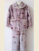 Детская серая пижамаиз велсофта для девочек 5-10лет
