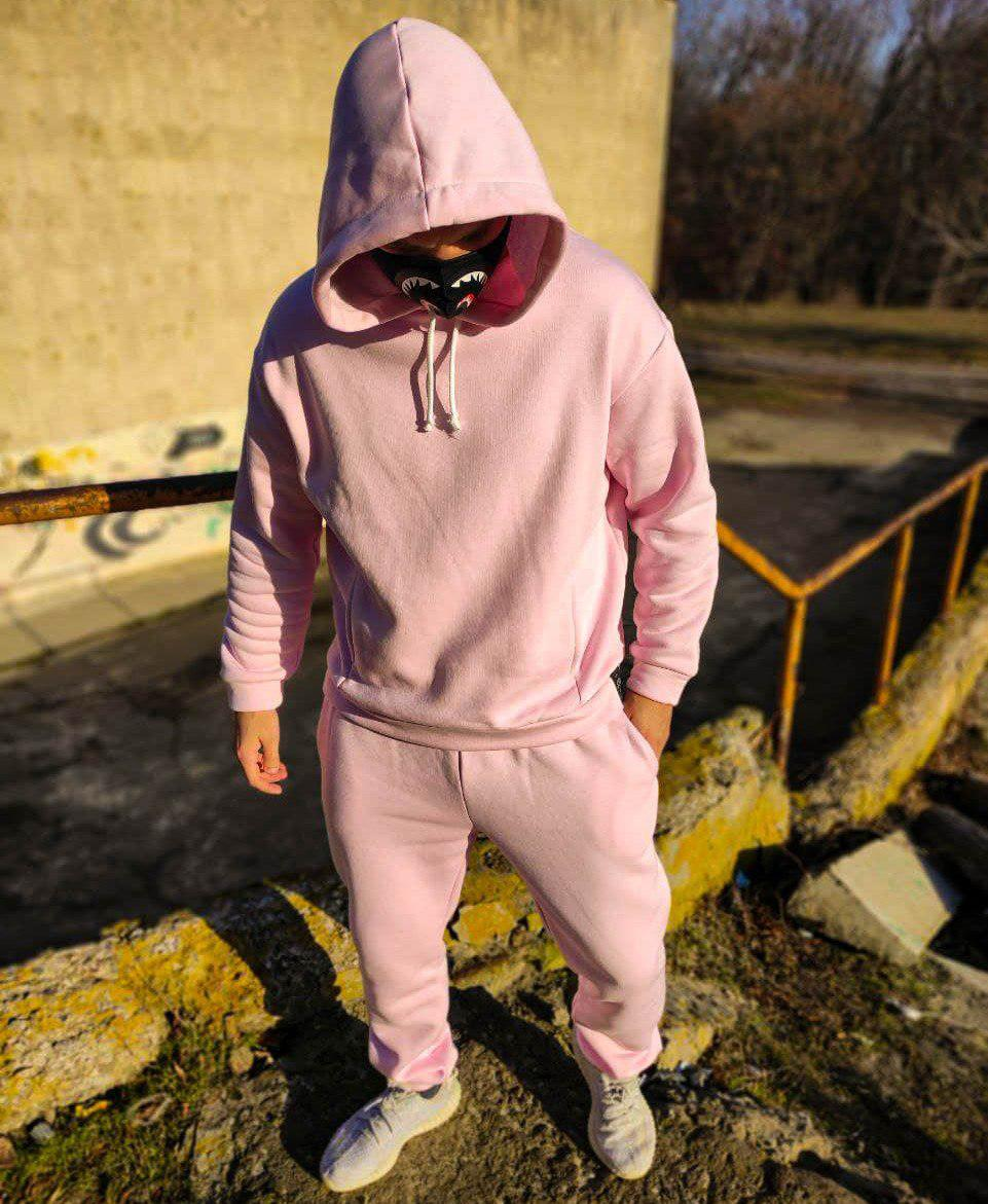 Мужской спортивный костюм оверсайз с капюшоном светло розового цвета на флисе Турция