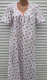 Ночная рубашка с коротким рукавом 48 размер Розовые розочки, фото 2