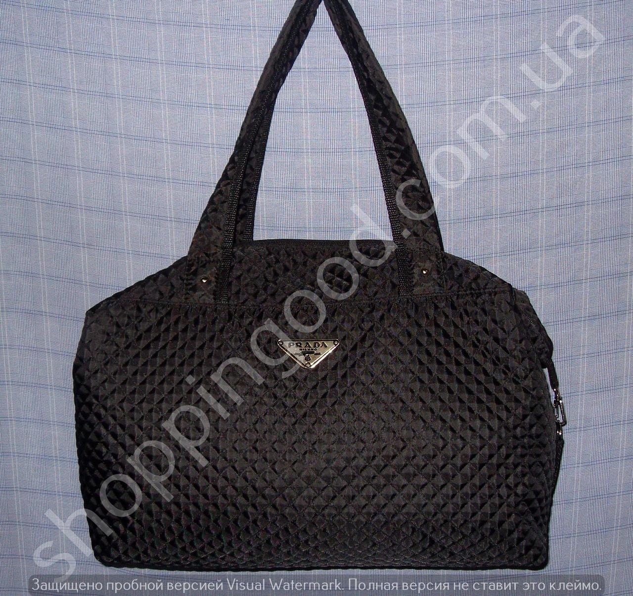 21cbfa2f6bd5 Женская сумка Prada 013566 черная спортивная стеганный текстиль копия
