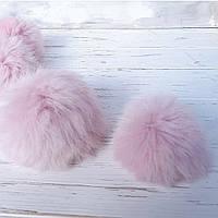 Помпон меховый кролик, Розовый 6-7 см