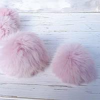 Помпон меховый кролик, Розовый 9-10 см