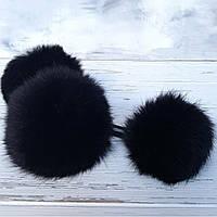 Помпон меховый кролик, Черный 6-7 см