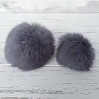 Помпон меховый кролик, Серый. 6-7 см