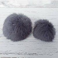 Помпон меховый кролик, Серый. 9-10 см