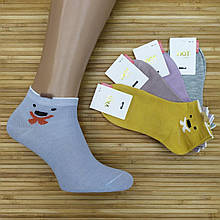 Носки женские короткие деми УЮТ М-03 3D смайл socks хлопок 36-41р.бесшовные с двойной пяткой ассорти 20008666