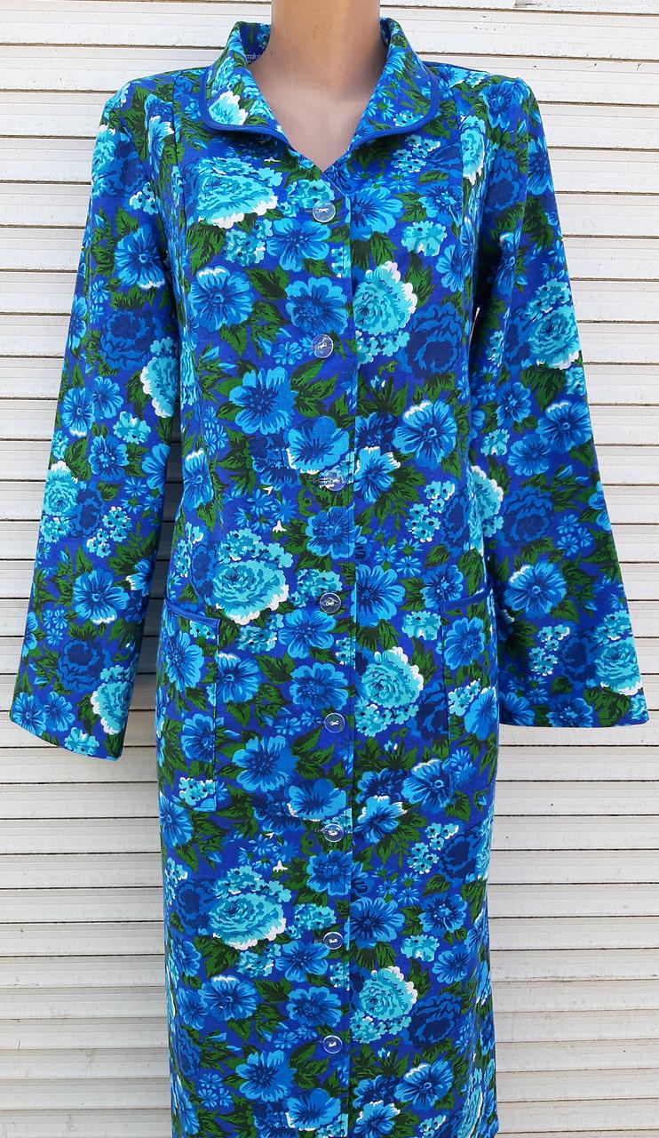 Теплый фланелевый халат 46 размер Синяя поляна