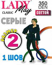 Колготки жіночі х/б Lady May Cotton 350 Den Україна розмір-2 Графіт 1 шов ЛЖЗ-1241
