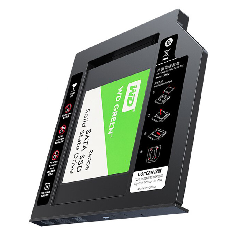 "Карман-адаптер Ugreen CM322 9.5мм для подключения 2.5"" HDD/SSD SATA 3.0 в ноутбук 70657"