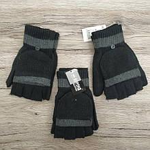 Рукавички без пальців чоловічі шерсть Корона 8111 темні мітенки з відкидною рукавичкою ПМЗ-160023