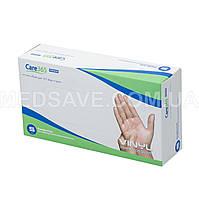 Перчатки виниловые неопудренные размер S - Care365 Premium смотровые одноразовые медицинские нестерильные