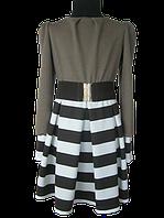 Нарядное платье для девочки из французского трикотажа в полосочку