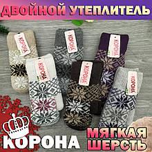 Рукавички жіночі футболки з хутром 2-ві Корона 7601 асорті теплі 21 см ПЖЗ-150030