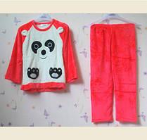 Пижама ярко-розовая из велсофта с пандой для девочек 9-16лет