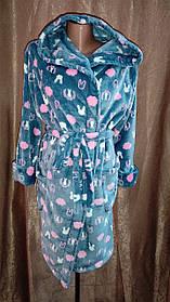 Женский махровый халат на запах серый зайка, Короткий халат на запах с капюшоном