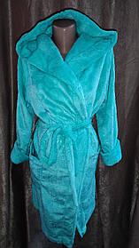 Женский махровый халат на запах с узорами, Короткий халат на запах с капюшоном