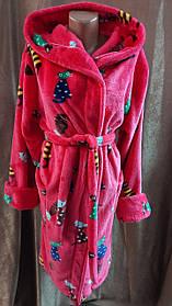 Женский махровый халат на запах Коты,, Короткий халат на запах с капюшоном