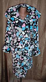 Женский махровый халат на запах Серый Сердечки, Короткий халат на запах с капюшоном