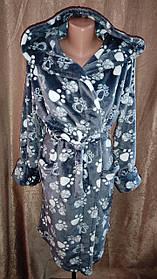 Женский махровый халат на запах Лапки, Короткий халат на запах с капюшоном