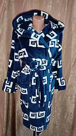 Махровый халат на запах Темно-синий, Короткий халат на запах с капюшоном