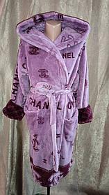 Махровый халат на запах Шанель Сиреневый, Короткий халат на запах с капюшоном