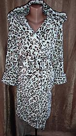 Махровый халат на запах Леопардовый принт, Короткий халат на запах с капюшоном