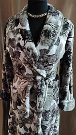 Длинный халат махровый на запах шаль Принт цветы Большого размера