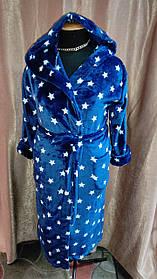 Длинный халат махровый на запах С Капюшоном Синий звезды Большого размера