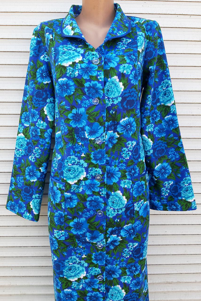Теплый фланелевый халат 50 размер Синяя поляна