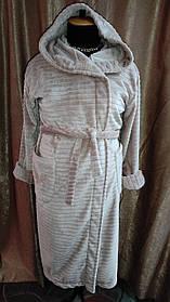 Длинный халат махровый на запах С Капюшоном Бежевый Большого размера