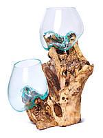 Ваза стеклянная на дереве,двойная,высота 40см