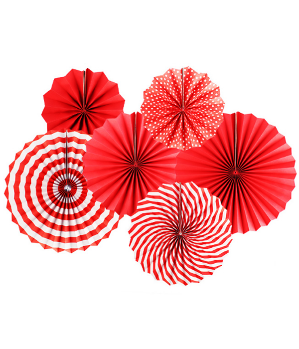 """Набор бумажных вееров """"Red mix"""" (6 шт.)"""