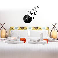 Часы с бабочками настенные черные