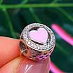Шарм намистина Пандори Серце срібло 925 проби - Срібний шарм серце рожеве емаль, фото 5