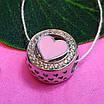 Шарм намистина Пандори Серце срібло 925 проби - Срібний шарм серце рожеве емаль, фото 2