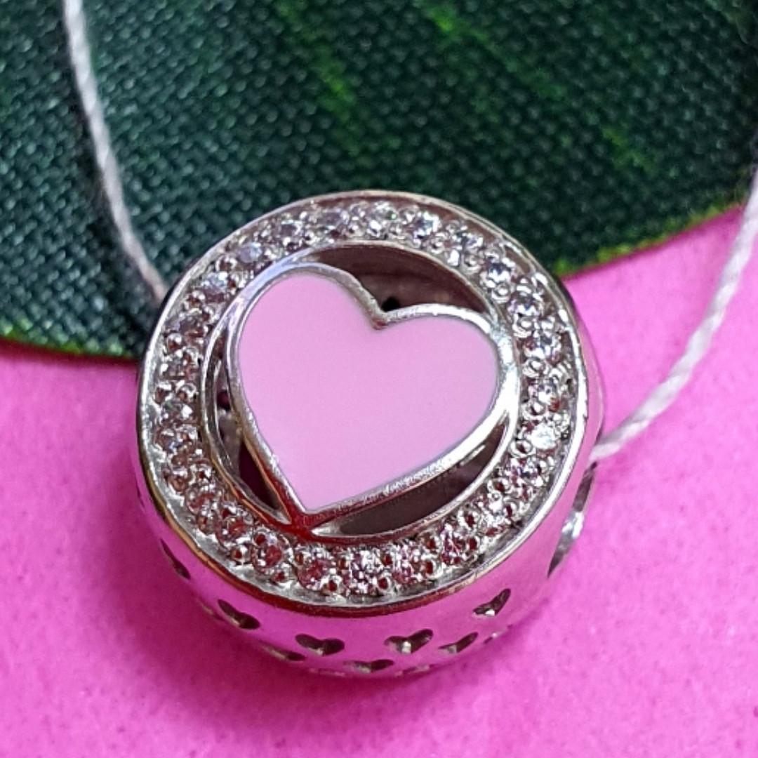 Шарм намистина Пандори Серце срібло 925 проби - Срібний шарм серце рожеве емаль