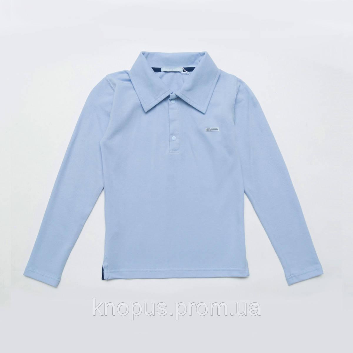 Поло для мальчика с длинным рукавом, голубая, SmileTime, размеры 152 - 164